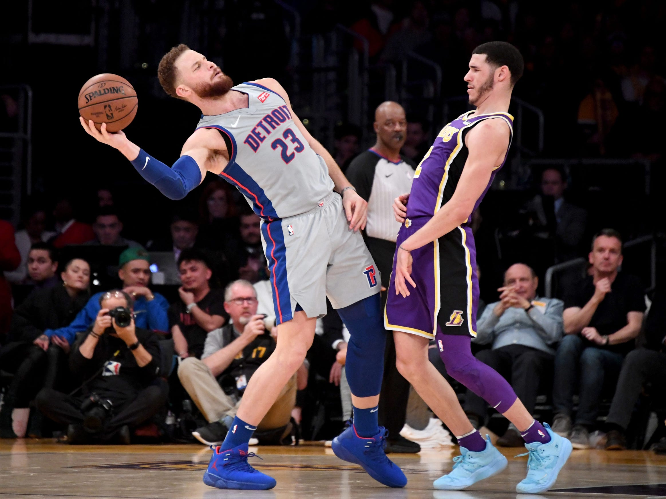 Detroit Pistons forward Blake Griffin (23) reacts to Los Angeles Lakers guard Lonzo Ball (2) during the second half at the Staples Center on Wednesday, Jan. 9, 2019, in Los Angeles.