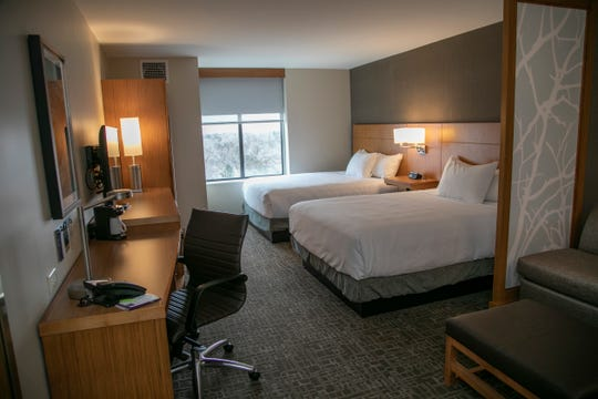 A standard double queen room in the new Hyatt Place hotel in Royal Oak, Michigan, photographed Jan. 10.