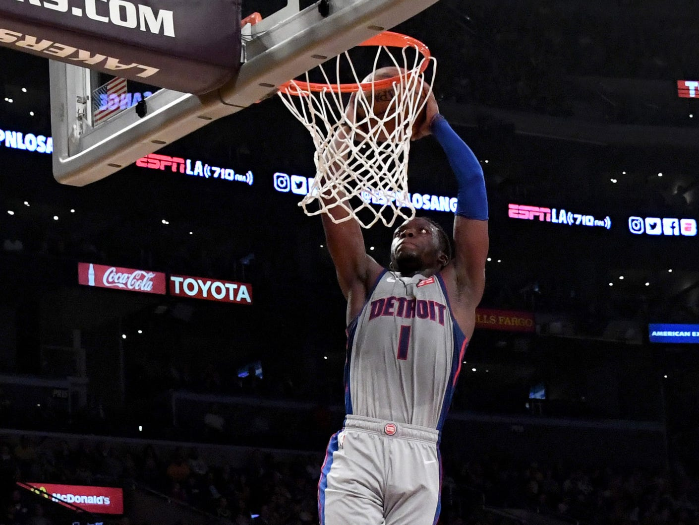Detroit Pistons guard Reggie Jackson (1) dunks against the Los Angeles Lakers during the first half at the Staples Center on Wednesday, Jan. 9, 2019, in Los Angeles.