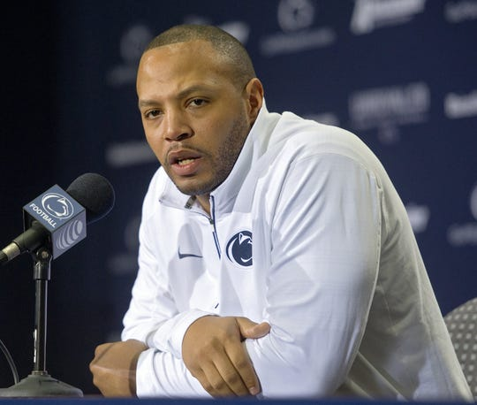 Penn State offensive recruiting coordinator Josh Gattis talks to the media about the upcoming TaxSlayer Bowl on Friday, Dec. 18, 2015, in University Park, Pa.