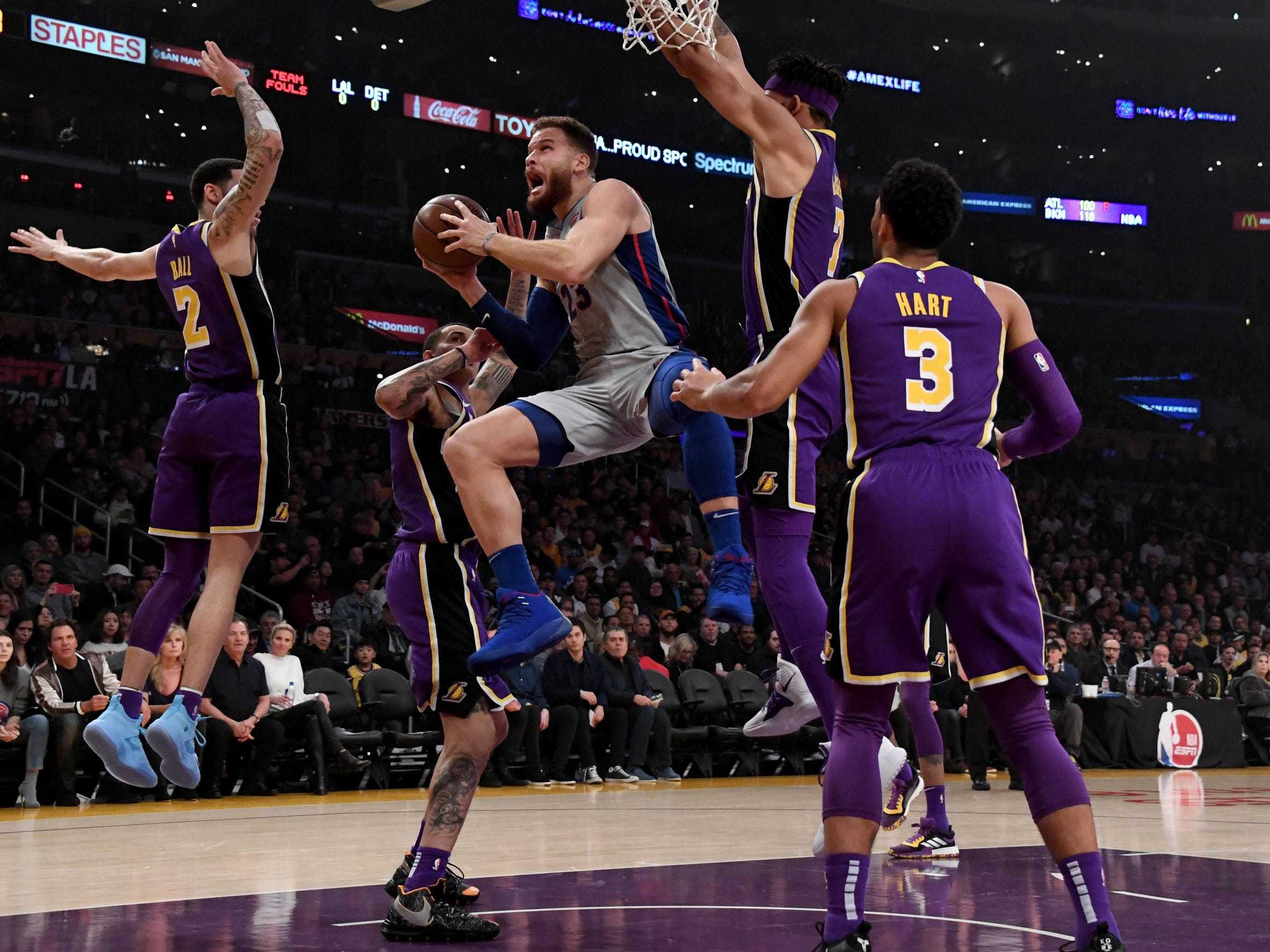 Detroit Pistons forward Blake Griffin (23) drives to the basket past Los Angeles Lakers guard Lonzo Ball (2) during the first half at the Staples Center on Wednesday, Jan. 9, 2019, in Los Angeles.