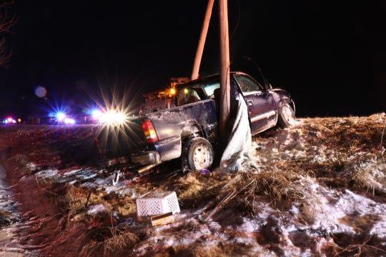 A GMC Sierra broke a utility pole in half in a crash on Wednesday, Jan. 9, 2019.
