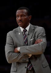 Detroit Pistons head coach Dwane Casey looks on during the first half against the Los Angeles Lakers during the first half at the Staples Center on Wednesday, Jan. 9, 2019, in Los Angeles.