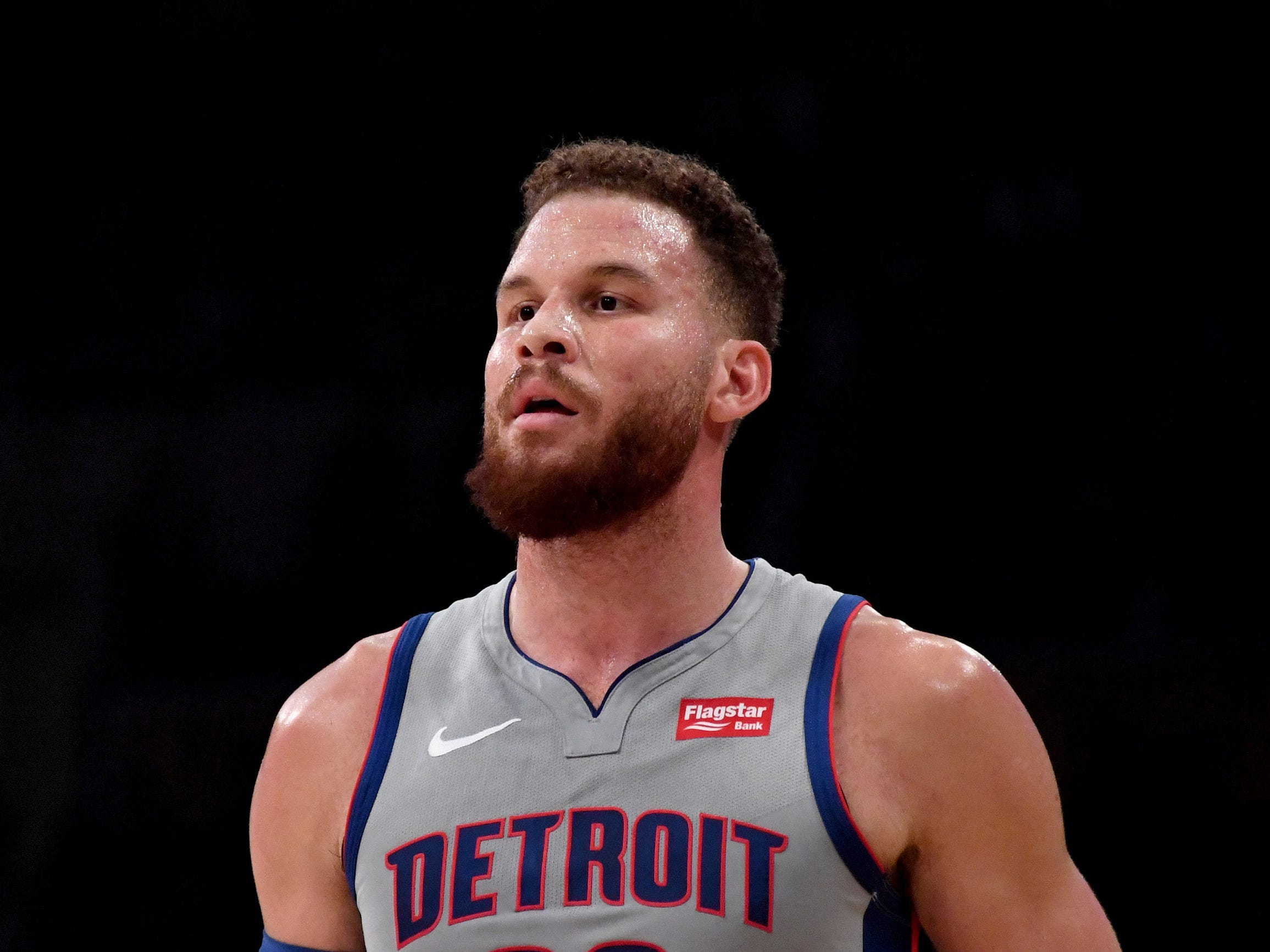 Detroit Pistons forward Blake Griffin (23) takes a breather against the Los Angeles Lakers during the first half at the Staples Center on Wednesday, Jan. 9, 2019, in Los Angeles.