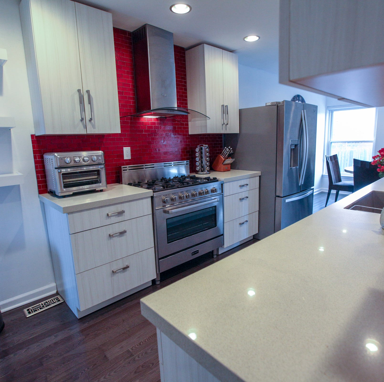 The kitchen of this co-op condominium in Hyde...