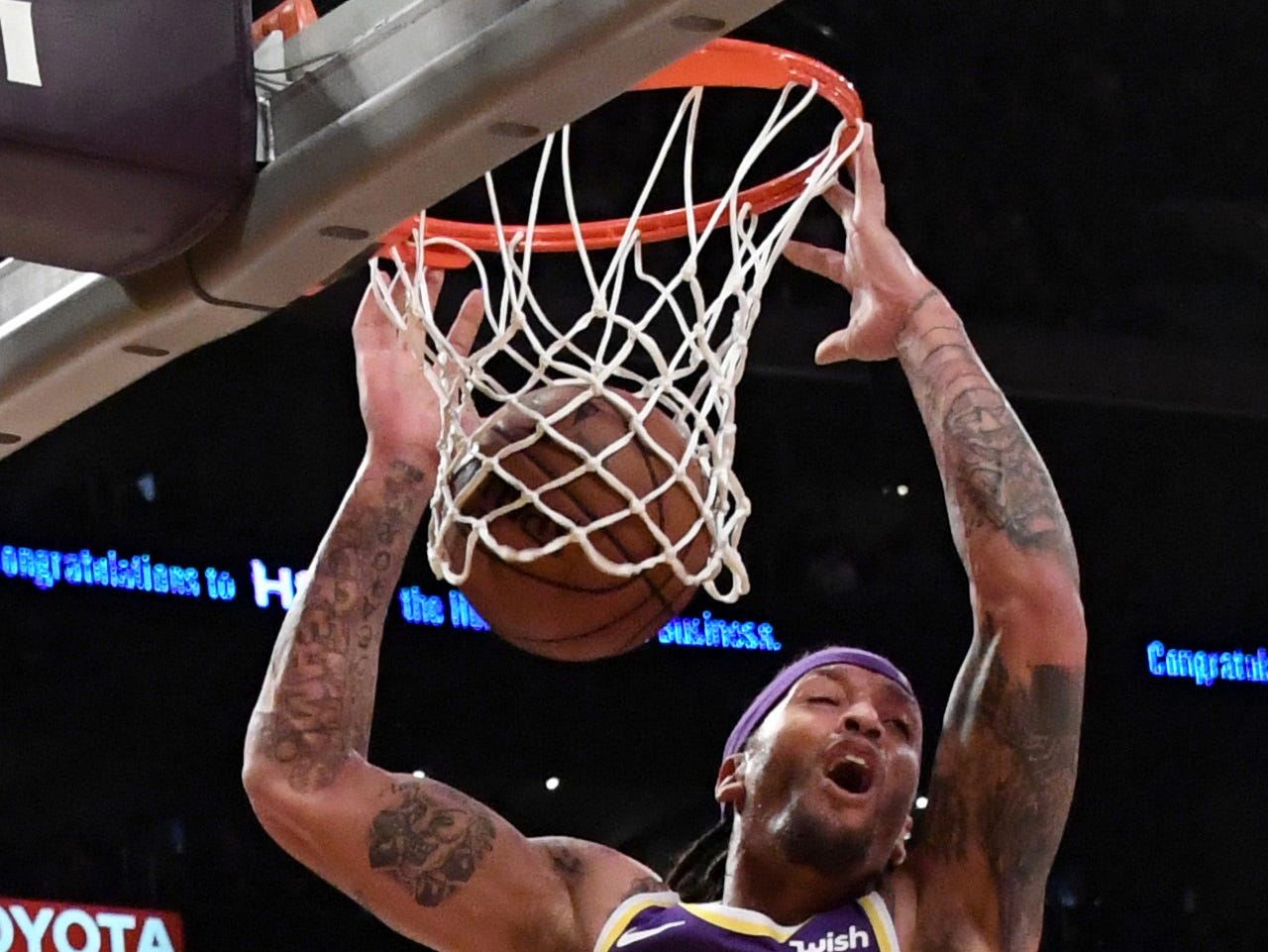 Los Angeles Lakers forward Michael Beasley (11) dunks the ball against the Detroit Pistons during the second half at the Staples Center on Wednesday, Jan. 9, 2019, in Los Angeles.