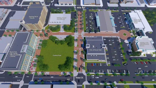 A rendering shows a bird's eye view of the Rethink Royal Oak development under construction.