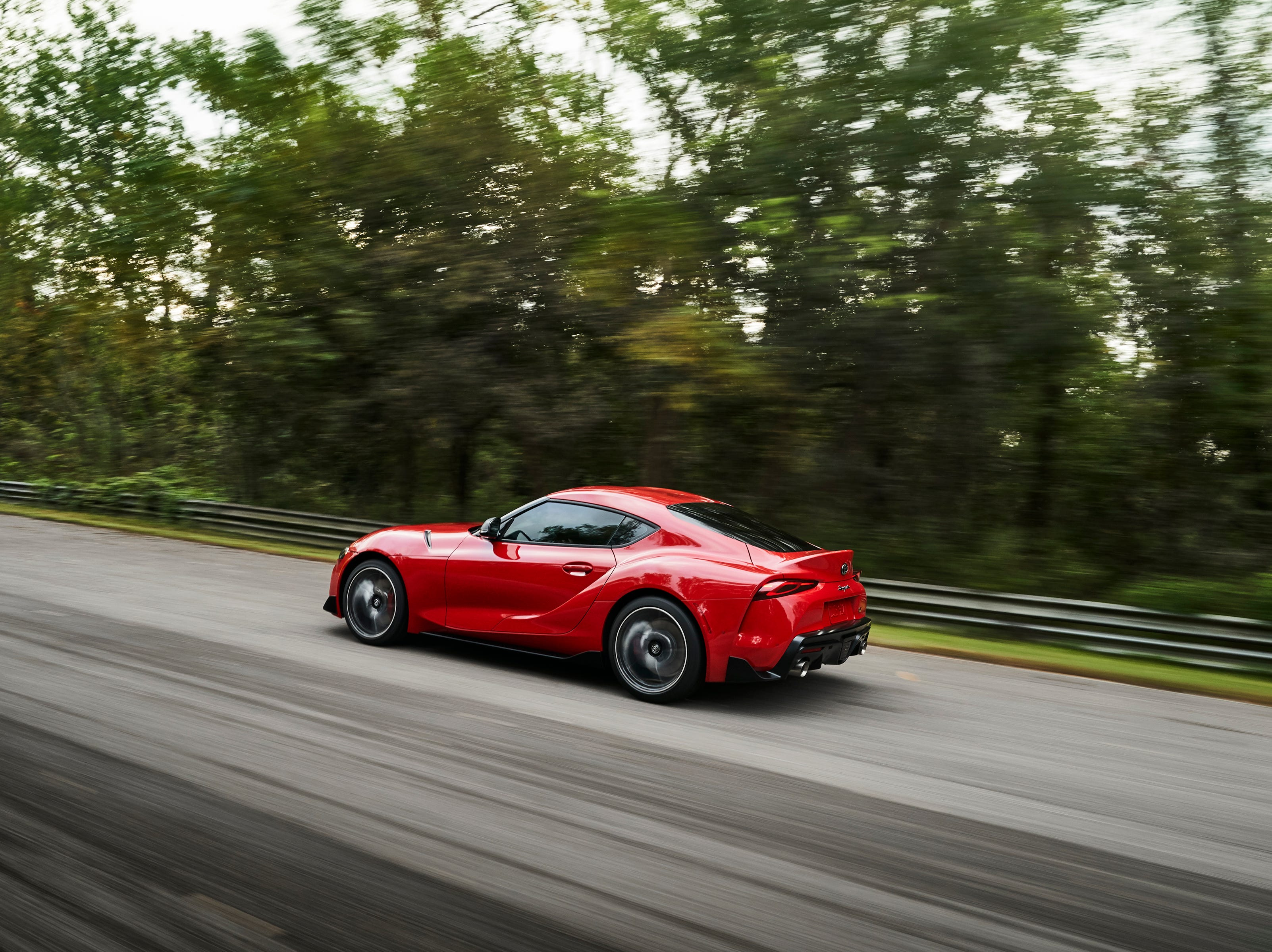 """""""The 2020 Toyota Supra will be powered by a turbocharged inline six-cylinder engine. The new Supra's 3.0-liter twin-scroll turbo six will produce 335 hp and 365 lb-ft of torque and will be teamed with a quick-shifting 8-speed automatic transmission with paddle shifters. Toyota projects 0-60 mph acceleration in 4.1 seconds."""""""