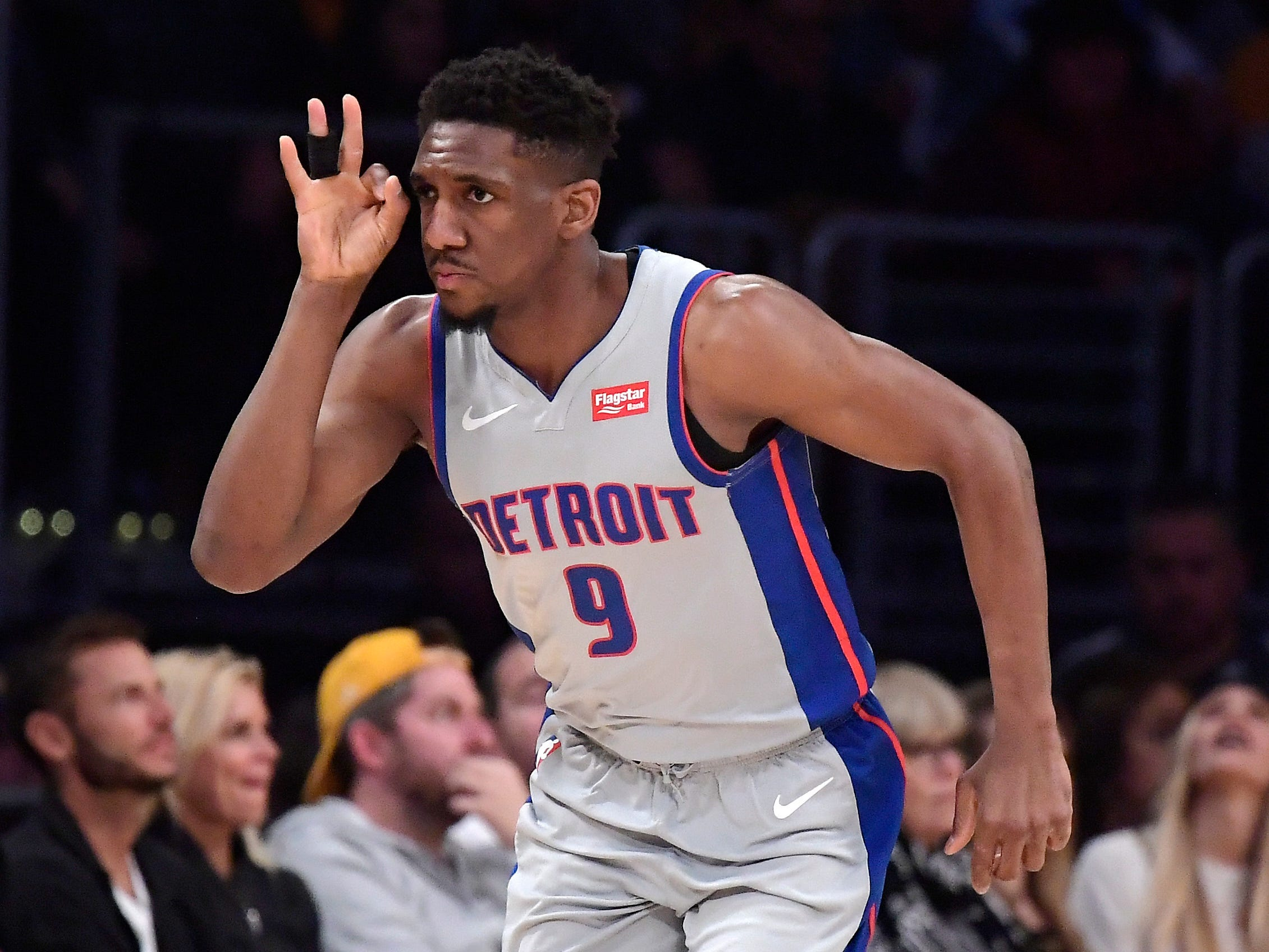 Detroit Pistons guard Langston Galloway gestures after hitting a 3-point shot during the second half.