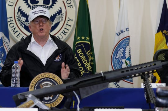 President Donald Trump speaks at a roundtable on immigration and border security at U.S. Border Patrol McAllen Station, during a visit to the southern border, Thursday, Jan. 10, 2019, in McAllen, Texas.