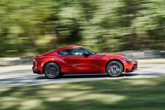 """The 2020 Toyota Supra will be powered by a turbocharged inline six-cylinder engine. The new Supra's 3.0-liter twin-scroll turbo six will produce 335 hp and 365 lb-ft of torque and will be teamed with a quick-shifting 8-speed automatic transmission with paddle shifters. Toyota projects 0-60 mph acceleration in 4.1 seconds."""