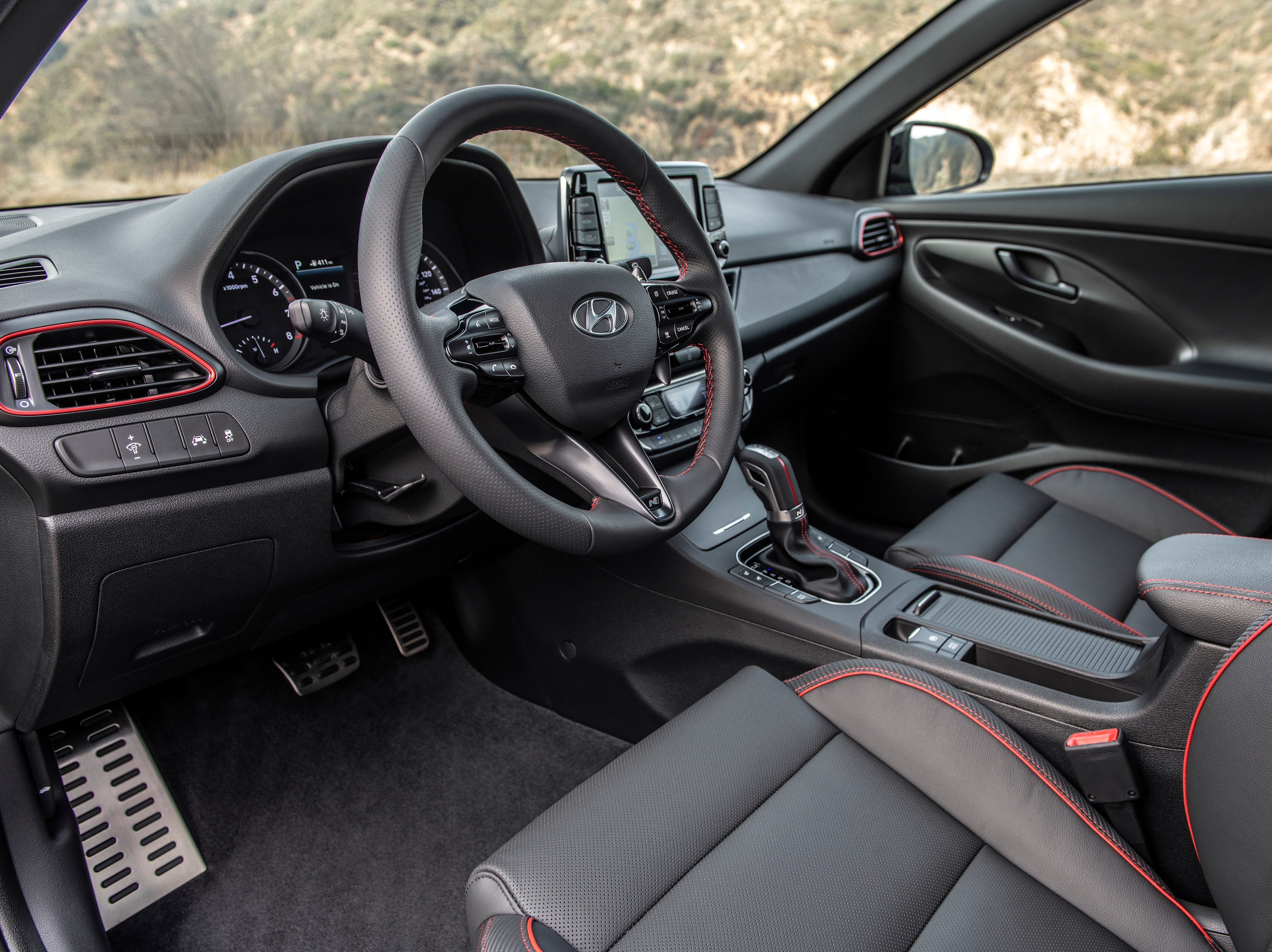 """""""Red stitching and accents differentiate the N Line from the standard Elantra GT"""""""