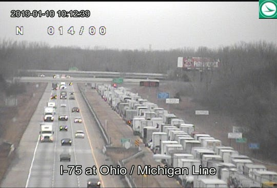 An incident has created a miles-long backup at the Michigan/Ohio border.