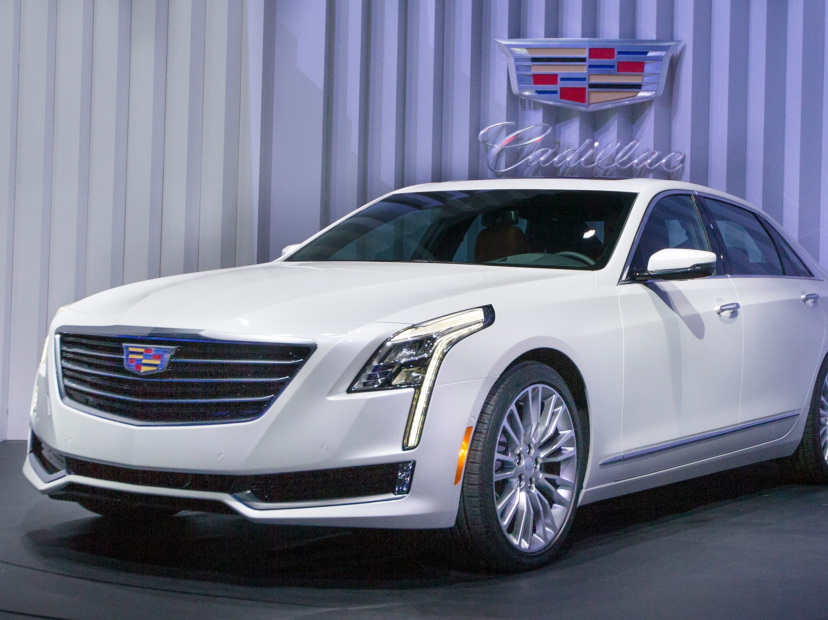 This March 31, 2015 file photo shows the Cadillac CT6 at the New York International Auto Show event in Duggal Greenhouse, in the Brooklyn borough of New York. Cadillac goes back to its roots with a new rear-drive luxury land yacht that isnÕt supposed to behave like one. The CT6 has an aluminum-intensive body with 11 different materials for strength, performance and efficiency.