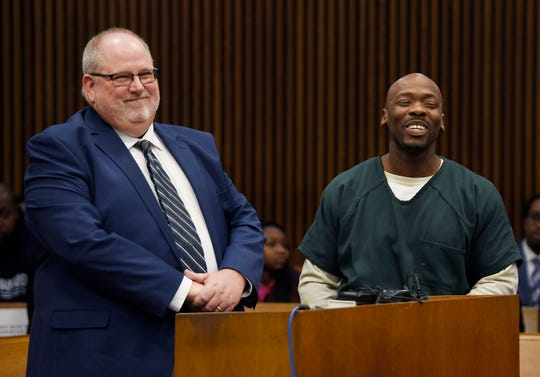 Michael Powels, right, and his attorney Phillip Comorski are all smiles after Judge Kelly Ramsey dismissed his 2007 second degree murder conviction.***Wayne County Prosecutor's Office will ask Judge Kelly Ramsey to dismiss convictions against two men: Kevin Lackey, who spent 21 years in prison for criminal sexual conduct, and Michael Powels, convicted of second-degree murder in 2007. Frank Murphy Hall of Justice. January 10, 2019, Detroit, Mi. (Clarence Tabb Jr./The Detroit News)