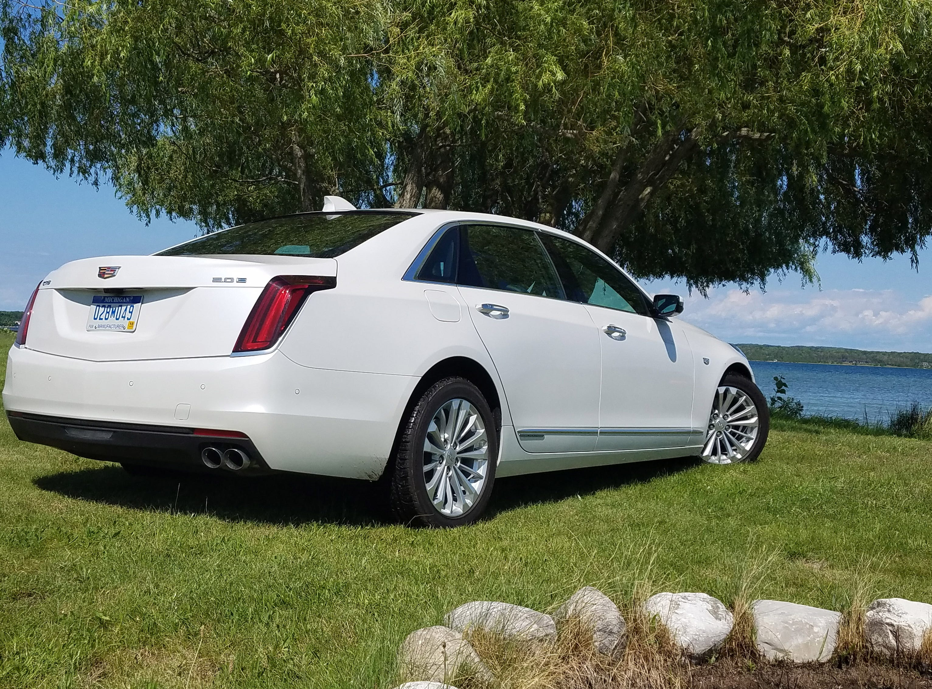 The 2017 Cadillac CT6 Plug-in's rear quarters are less distinctive than the Pentagon-grille front end. With the battery stored in the trunk, the rear seats are fixed in place and cannot be flattened for pass-through cargo storage.