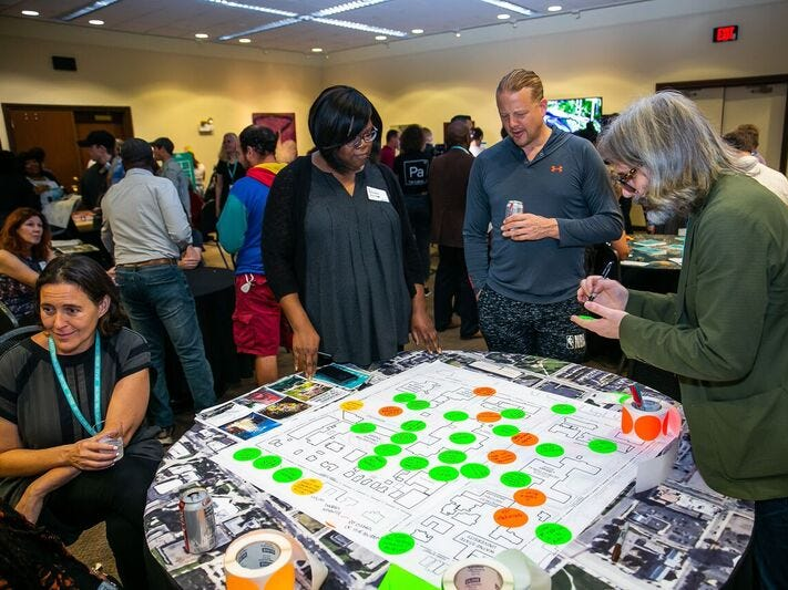 People identify outdoor spaces around the Detroit cultural institutions they would like to see changed. The community engagement meeting for the DIA Plaza & Midtown Cultural Connections plan was held at the Charles H. Wright Museum of African American History in October.