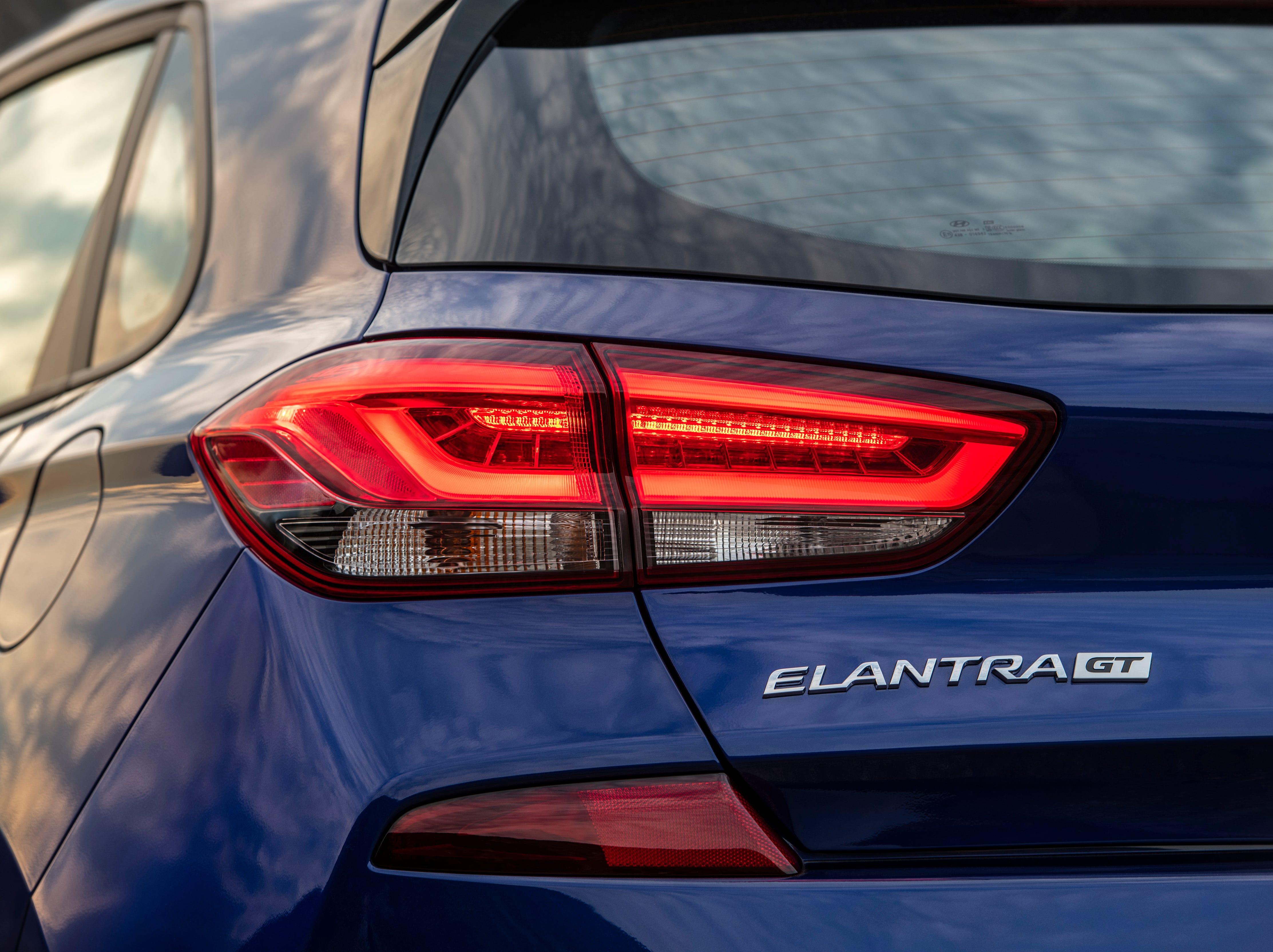 "The rear of the 2019 Hyundai Elantra GT N Line trim includes a ""unique bumper fascia""."