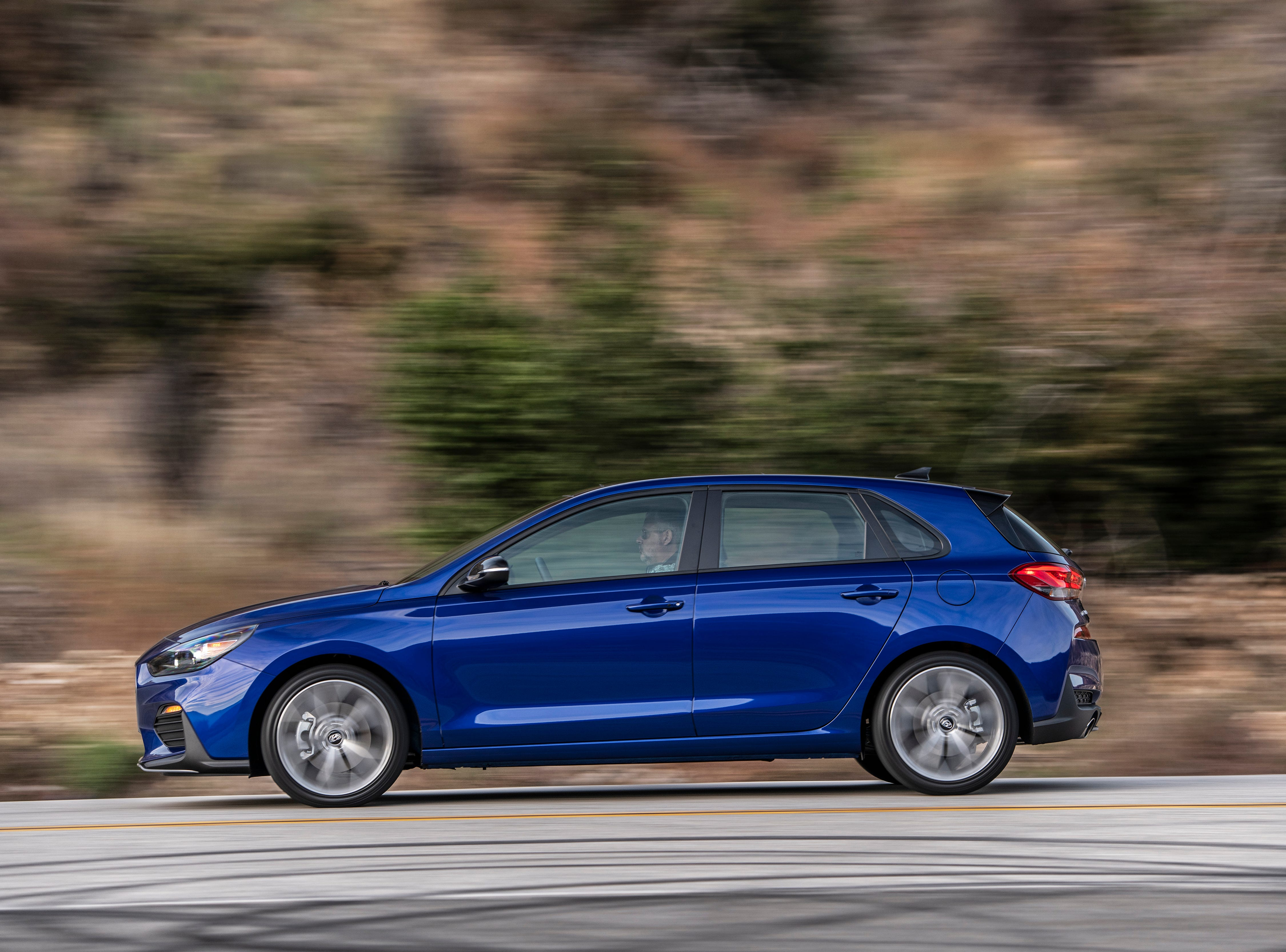 """""""The Elantra GT N Line includes a 1.6-liter turbocharged-GDI engine with six-speed manual transmission or an optional seven-speed DCT with larger steering wheel mounted paddle shifters. This drivetrain produces 201 horsepower and 195 lb.-ft. torque to meet performance and fuel efficiency needs."""""""