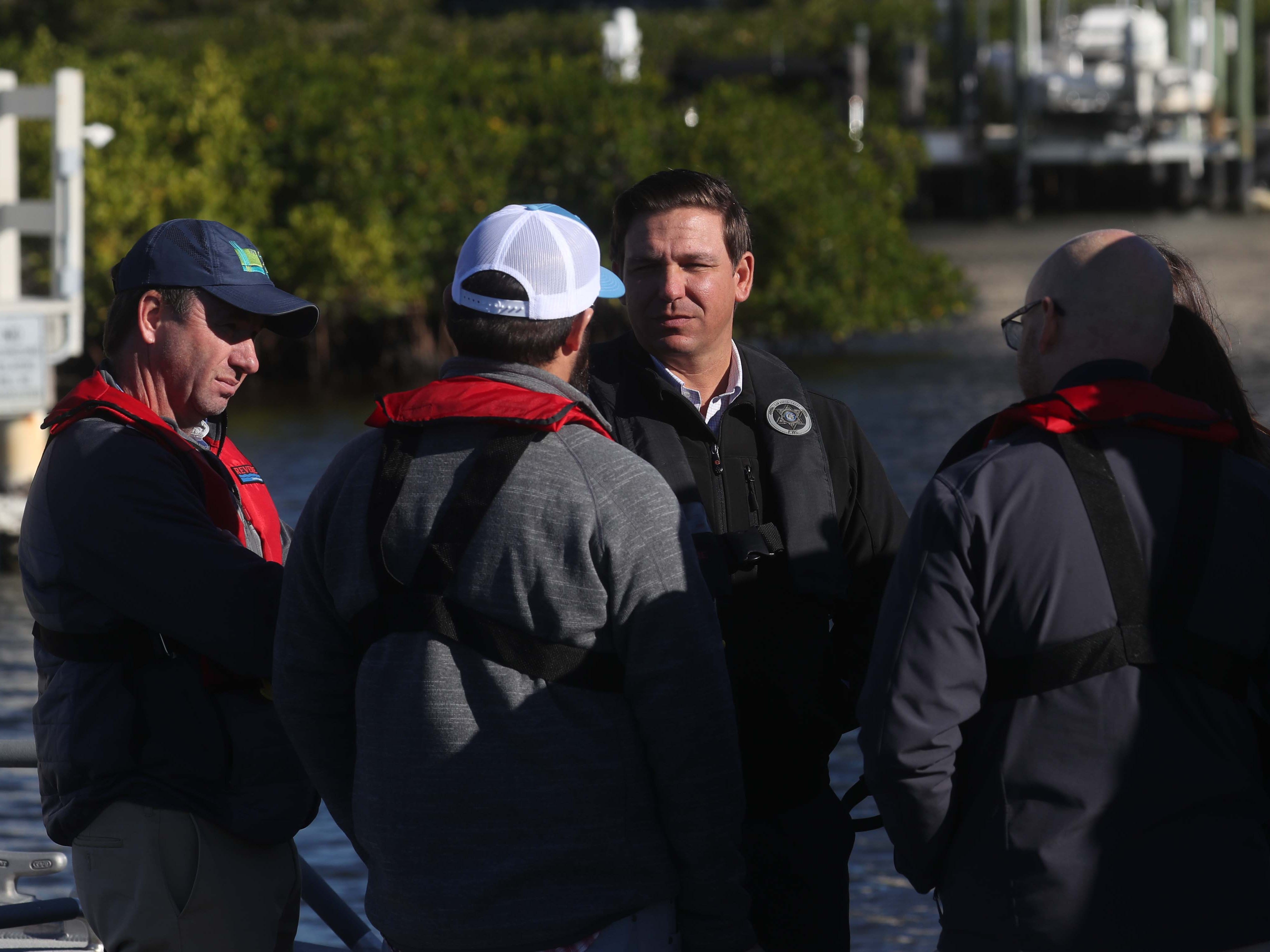 Gov. Ron DeSantis announces a $1 billion increase in water quality spending at FGCU's Vester Marine and Environmental Research Field Station in Bonita Springs on Thursday, Jan. 10, 2018. He took a brief tour of the area's waterways as well.