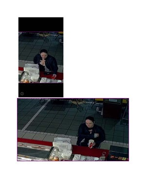 A woman caught on security camera making fraudulent purchases at the Bay Park Square Mall.
