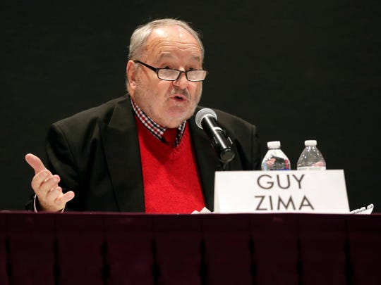 Green Bay mayoral candidate Guy Zima speaks Jan. 9, 2019 at a forum hosted by the League of Women Voters of Greater Green Bay at the Brown County Central Library. Sarah Kloepping/USA TODAY NETWORK-Wisconsin