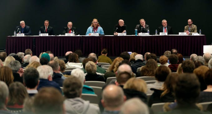 The eight candidates running for mayor of Green Bay spoke Jan. 9, 2019 at a forum hosted by the League of Women Voters of Greater Green Bay at the Brown County Central Library. Sarah Kloepping/USA TODAY NETWORK-Wisconsin