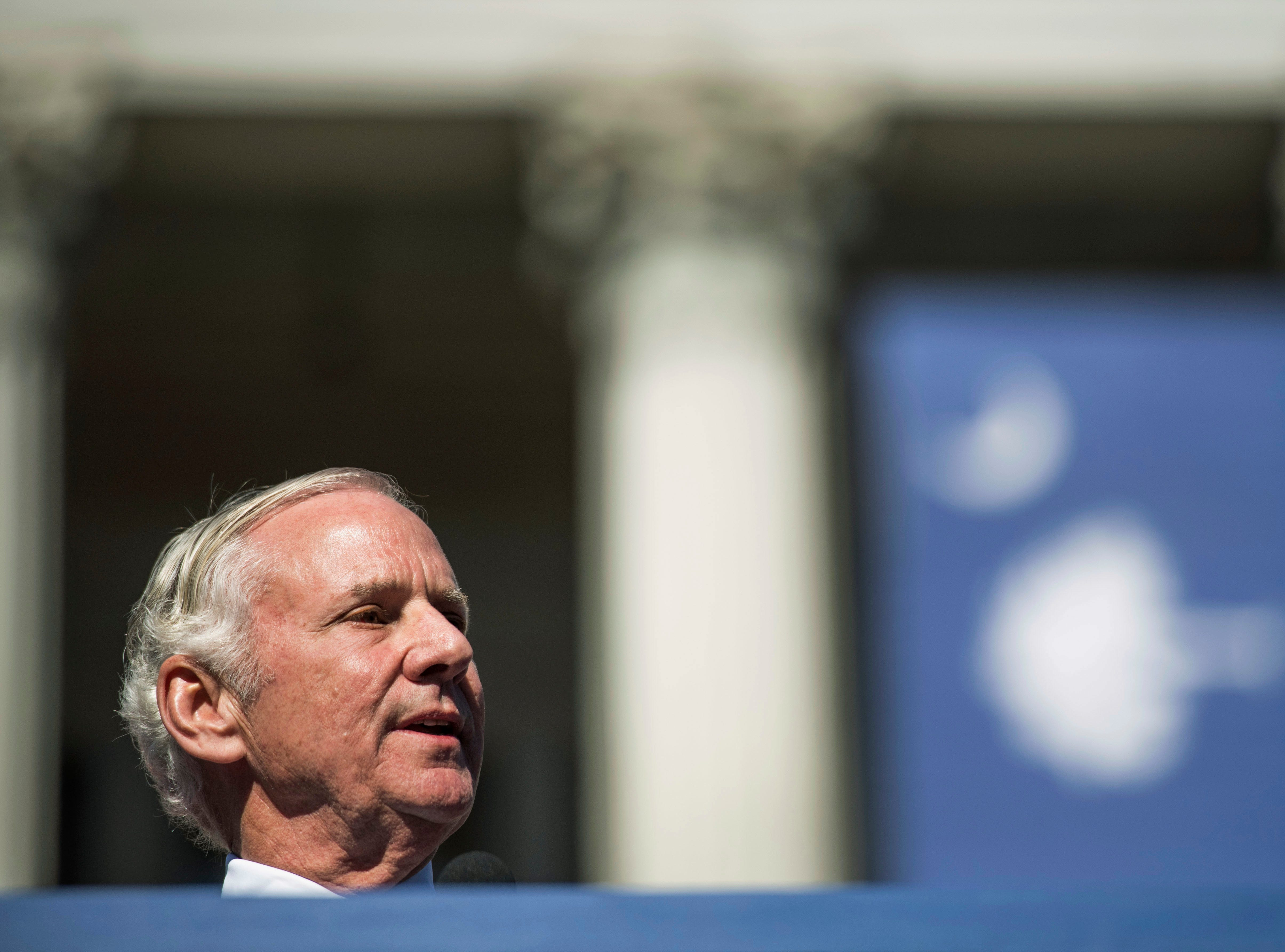 South Carolina Gov. Henry McMaster addresses the crowd after being sworn in for his first full term at the South Carolina Statehouse, Wednesday, Jan. 9, 2019, in Columbia, S.C. McMaster defeated Democratic state Rep. James Smith in the Nov. 6 election. (AP Photo/Sean Rayford)