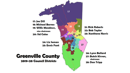 Greenville County Council districts, 2019-2020