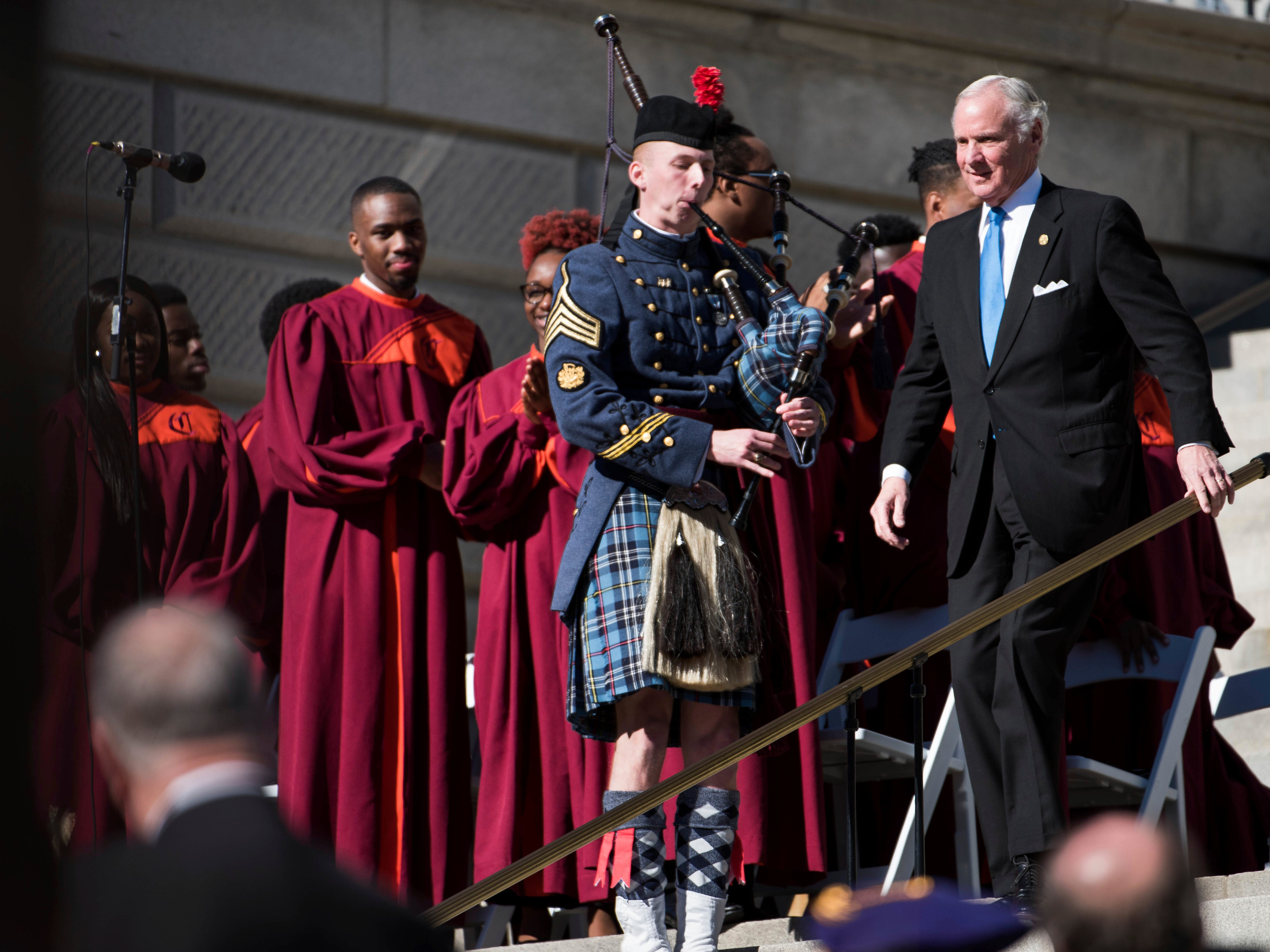 South Carolina Governor Henry McMaster walks down the steps during his inauguration ceremony at the South Carolina Statehouse Wednesday, Jan. 9, 2019, in Columbia, S.C. McMaster defeated Democratic state Rep. James Smith in the Nov. 6 election. (AP Photo/Sean Rayford)