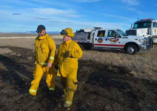 Black Eagle firefighters Doug Koster and Rocky Knuth were among the firefighters who were called to a fire Wednesday outside of Stockett.