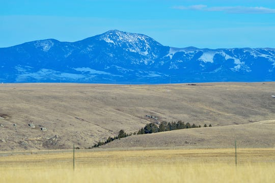 A view of the Highwood Mountains seen from Cottonwood Coulee Road on a dry warm afternoon, January 9, 2019.