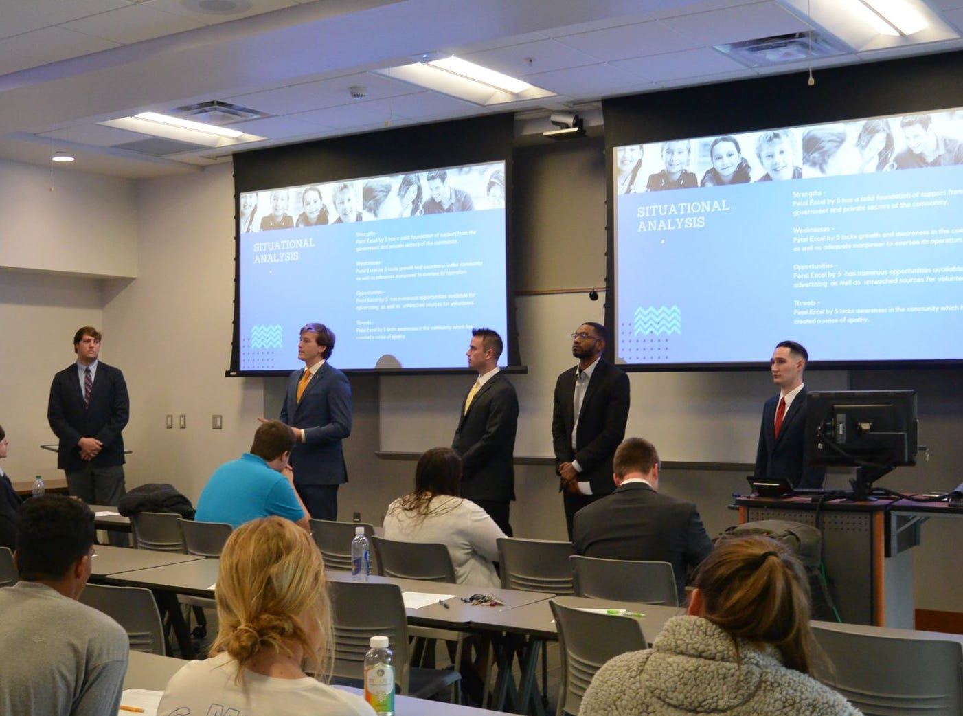 From left, Spencer Poole, Cameron Kenney, Braden Myers, Micah Scott and Michael Adrade-Scott, University of Southern Mississippi College of Business majors, meet with Petal's Excel by 5 to present a public relations plan.