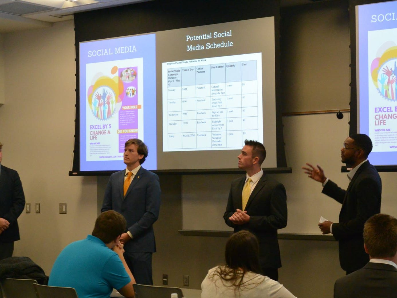 From left, Spencer Poole, Cameron Kenney, Braden Myers and Micah Scott, University of Southern Mississippi School of Business majors, present a public relations plan to Petal's Excel  by 5.