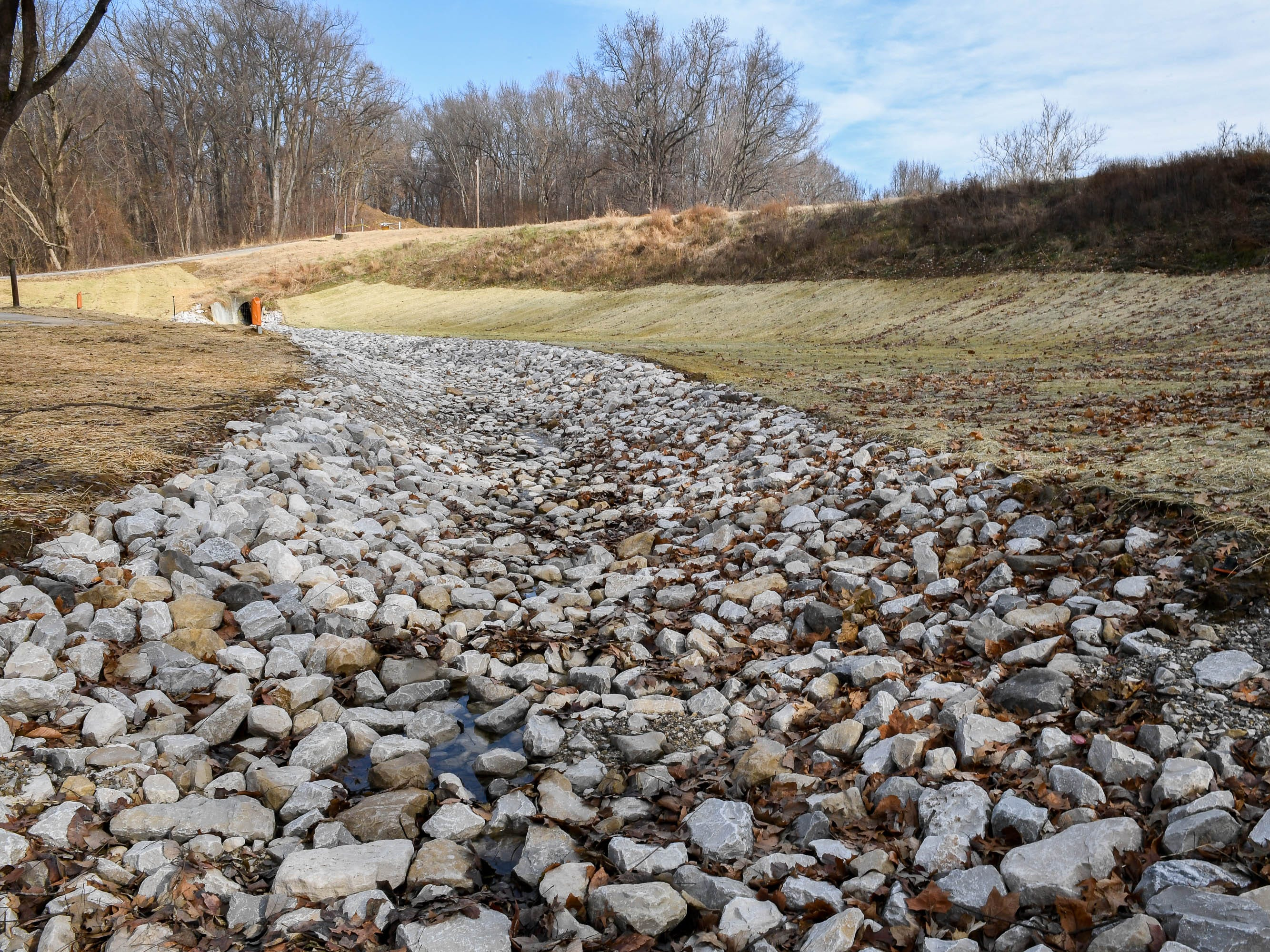 Phase one, of a two-phase project, has been completed with the stabilization of the soil below the Scenic Lake dam at Henderson's John James Audubon State Park Thursday, January 3, 2019.