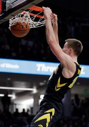 Iowa guard Joe Wieskamp dunks against Northwestern during the first half Wednesday in Evanston, Illinois.