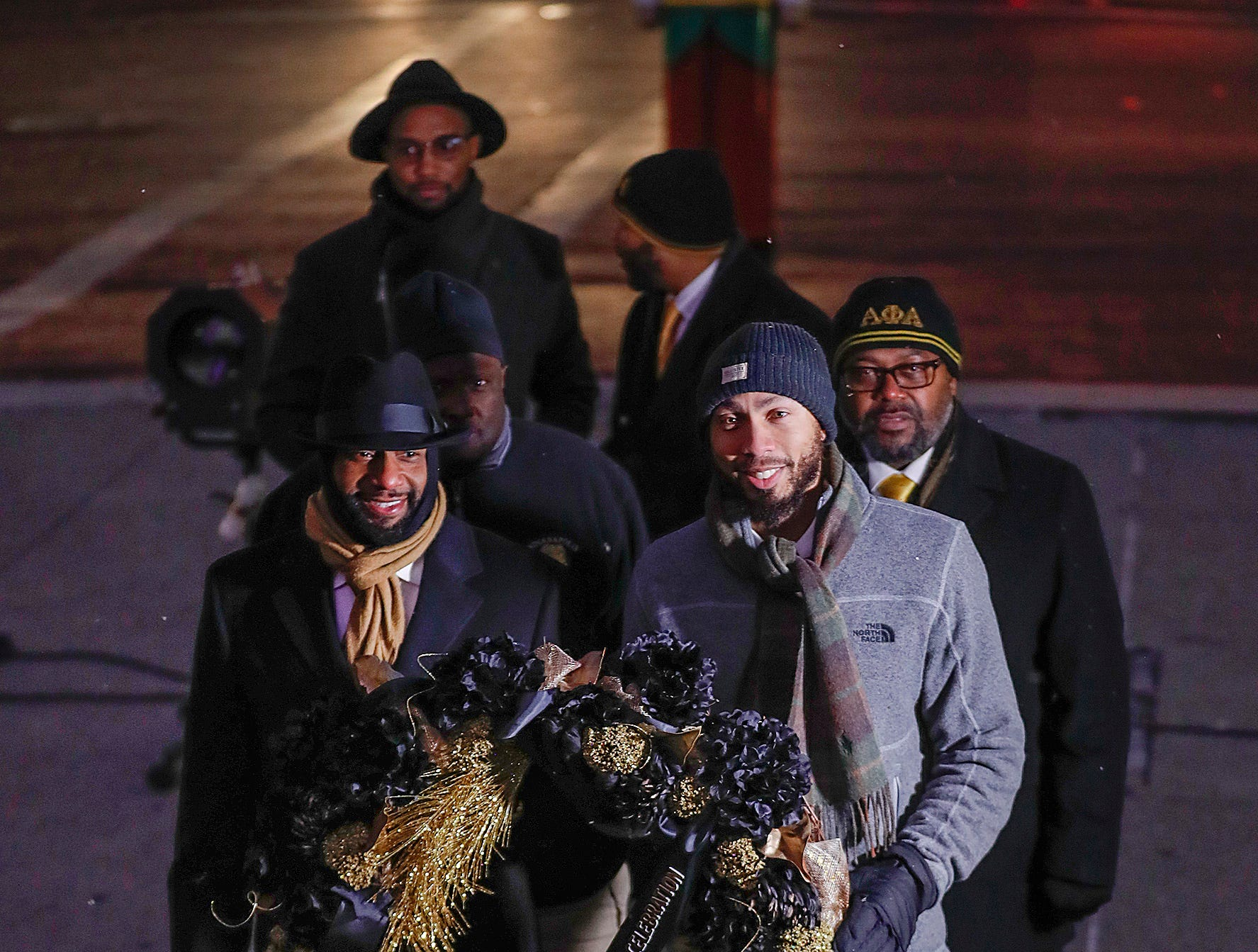 Members of the Alpha Phi Alpha carry the wreath as the Indiana Civil Rights Commission hosted a commemorative Wreath Placing Ceremony at the Indiana War Memorial on Wednesday, Jan. 9, 2019.