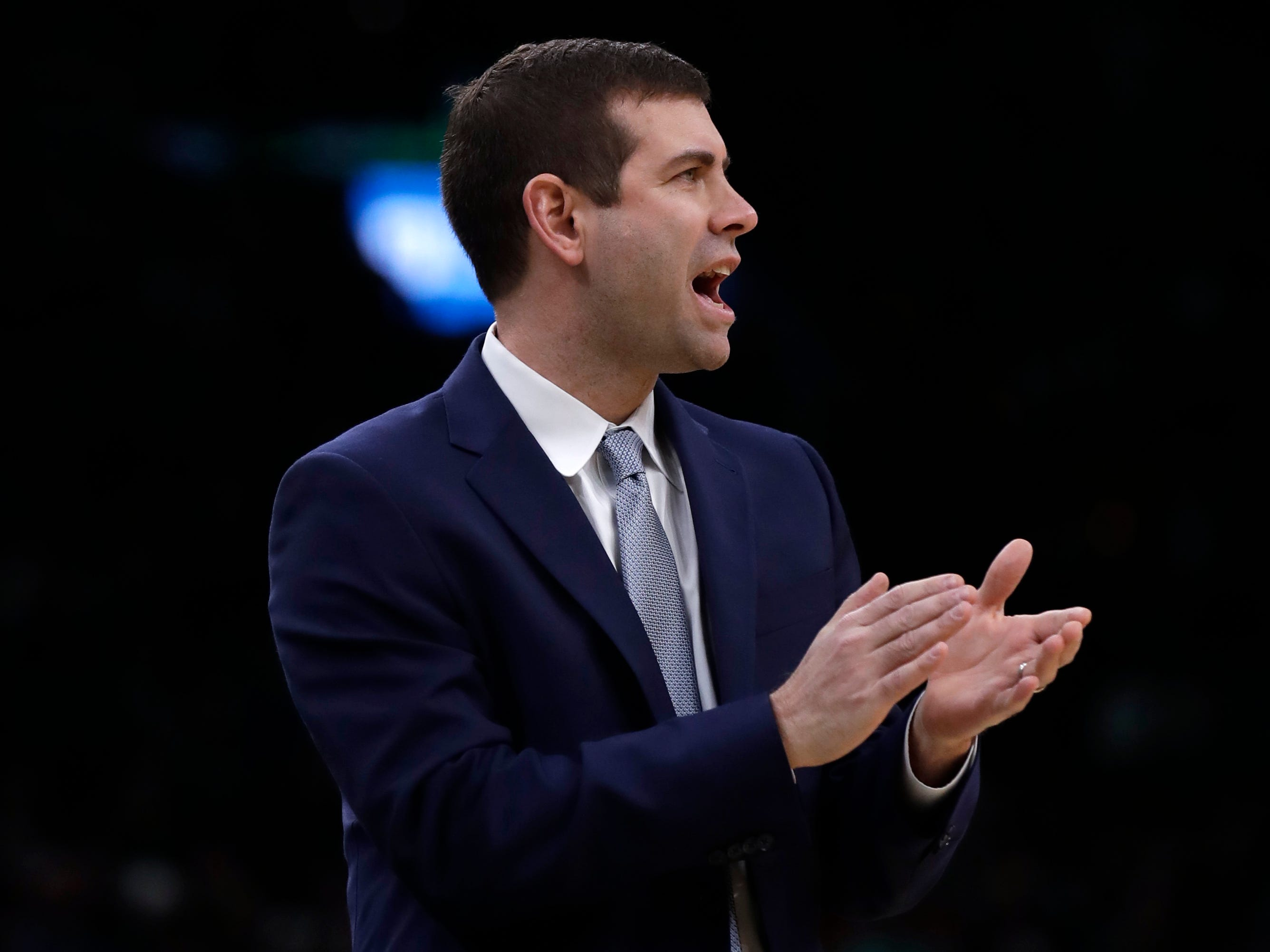 Boston Celtics head coach Brad Stevens calls to his players during the first quarter of an NBA basketball game against the Indiana Pacers in Boston, Wednesday, Jan. 9, 2019.