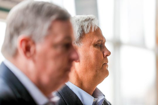 Former Mayor of Indianapolis, Greg Ballard, left, awaits introduction to speak on behalf of Sen. Jim Merritt, right, former chair of the Marion County GOP, during a press conference announcing Merritt's candidacy for Mayor of Indianapolis at 3902 N. Illinois Street, in Indianapolis on Thursday, Jan. 10, 2019. Ballard will serve as Chairman of Merritt's campaign committee.