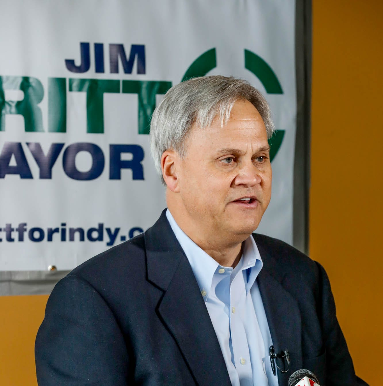 Sen. Jim Merritt, former chair of the Marion County GOP, announces his candidacy for Mayor of Indianapolis during a press conference held at  3902 N. Illinois Street, in Indianapolis on Thursday, Jan. 10, 2019.