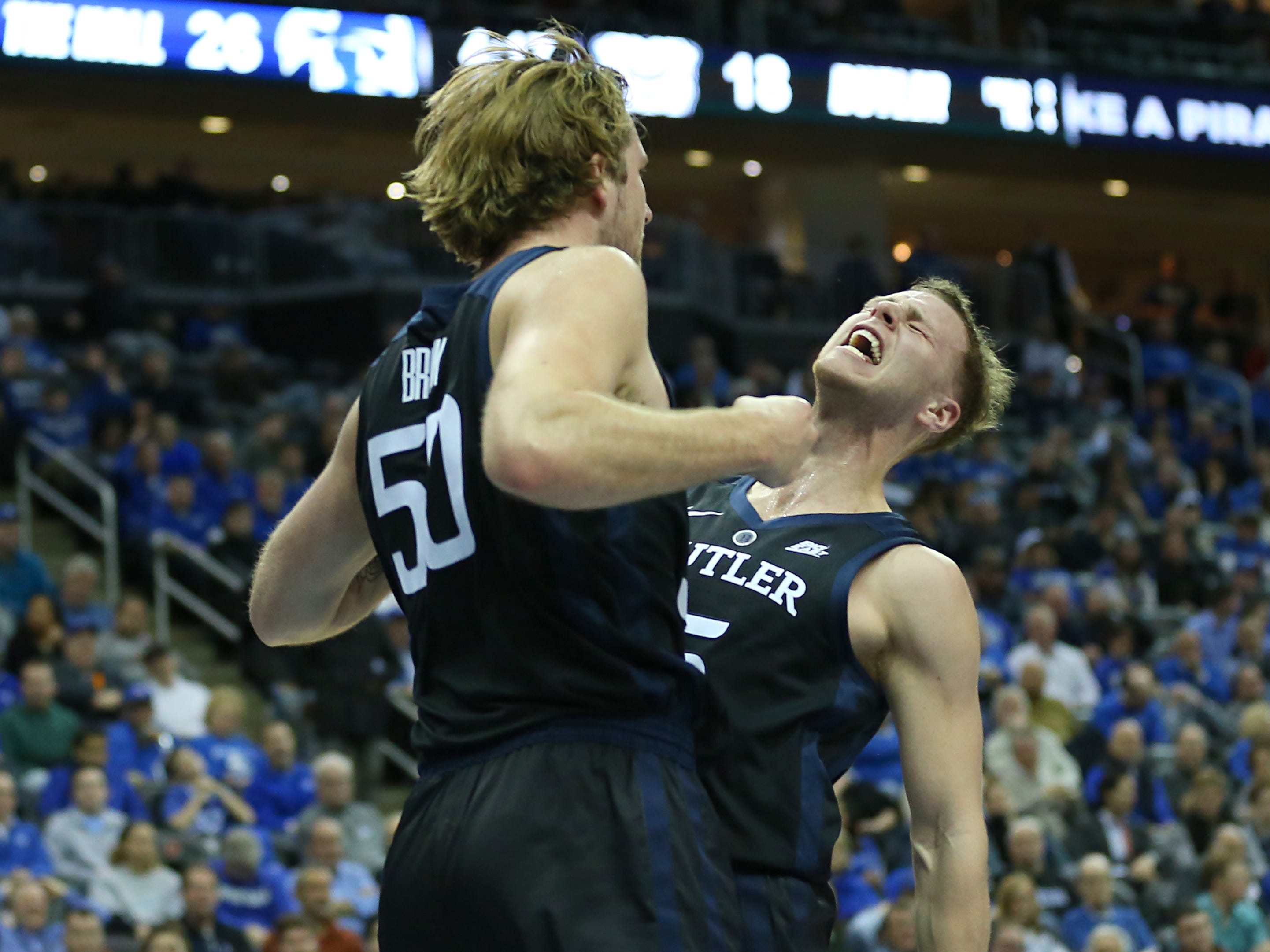 Jan 9, 2019; Newark, NJ, USA; Butler Bulldogs forward Joey Brunk (50) celebrates his basket with guard Paul Jorgensen (5) during the first half against the Seton Hall Pirates at Prudential Center.