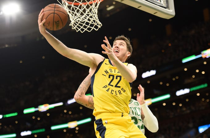 Jan 9, 2019; Boston, MA, USA; Indiana Pacers forward T.J. Leaf (22) drives to the basket during the first half against the Boston Celtics at TD Garden.