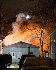 A fire ripped through a home Wednesday night on Linn Street during heavy winds and freezing temperatures.