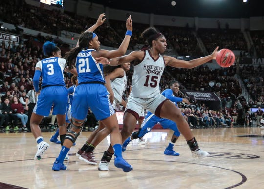 Mississippi State's Teaira McCowan (15) gets a rebound in the first quarter. Mississippi State and Kentucky played in an SEC women's basketball game on Sunday, January 6, 2019. Photo by Keith Warren