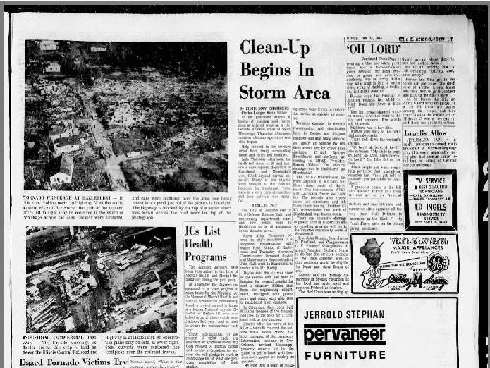 The Clarion-Ledger in January 1970 wrote about a tornado in Hazlehurst that killed dozens of people on January 23, 1969.