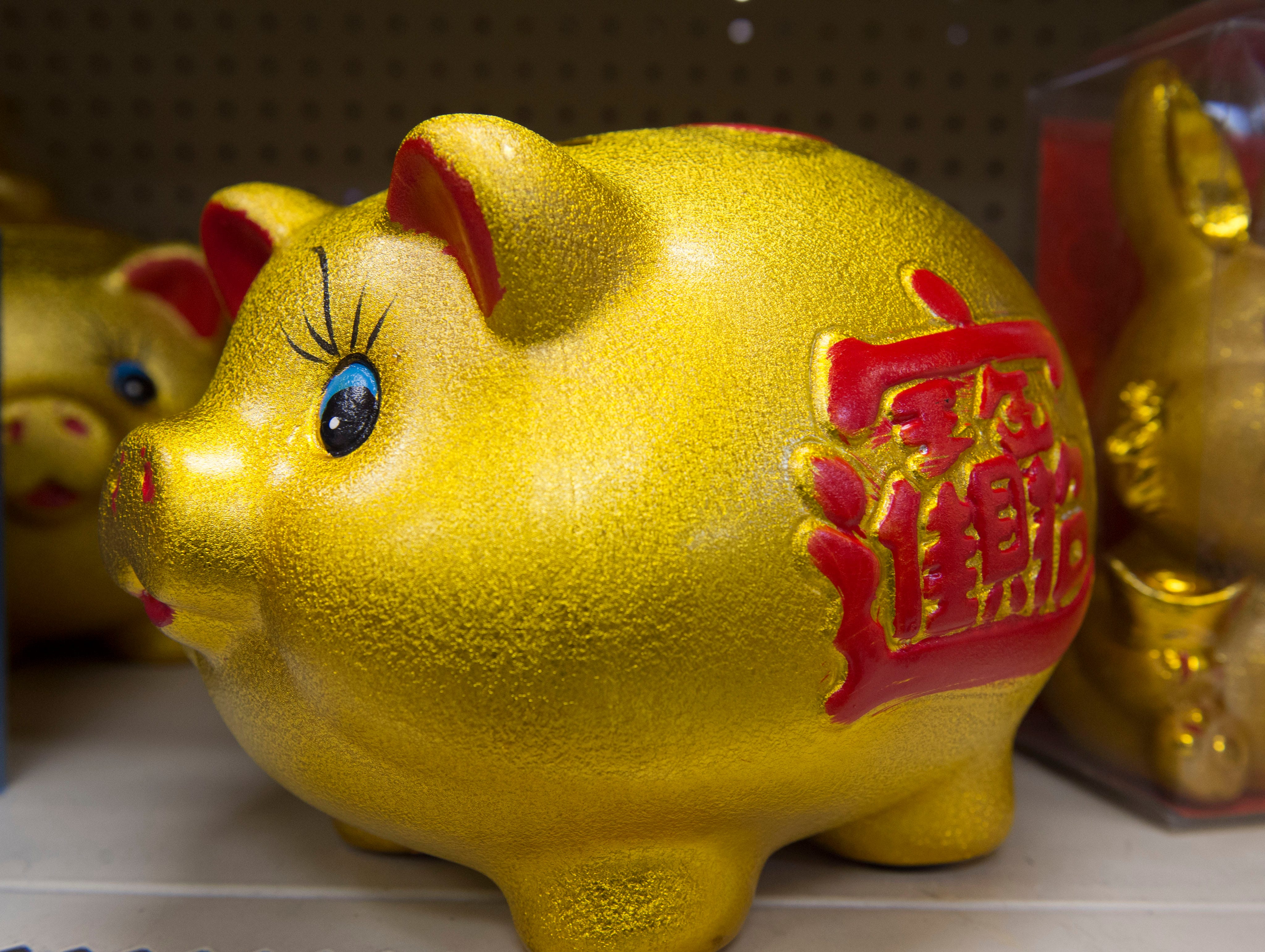 The pig is the twelfth animal symbol in the 12-year cycle of Chinese zodiac, which begins anew on Tuesday, Feb 5. And with 2019 being the year of the pig many decorations for the new year will include the animal as with the piggy banks seen on the shelf of Mr. Chen's restaurant and grocery in Jackson. Monday, Jan. 7, 2019.