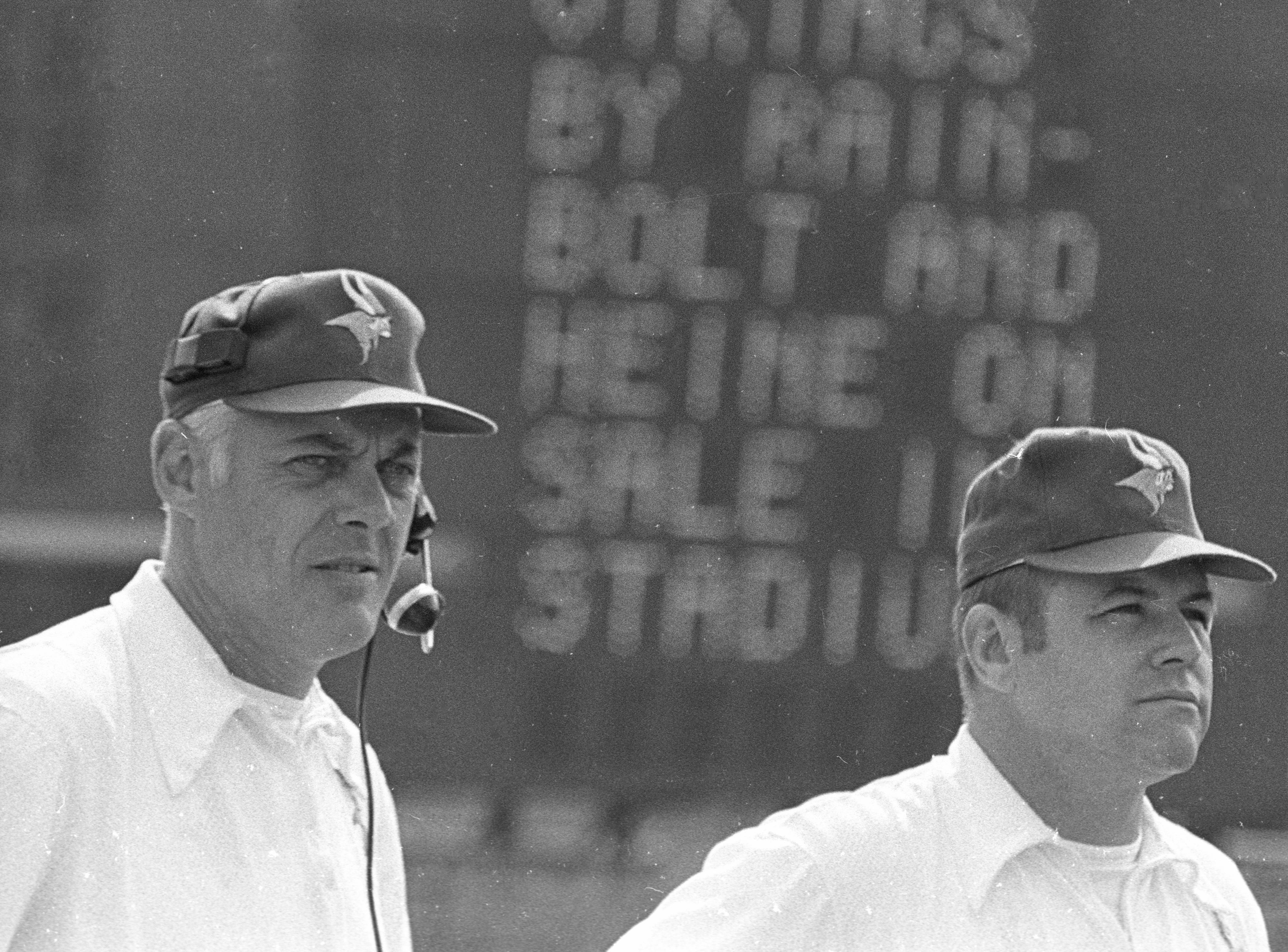 John Michels, right, is shown in an undated photo with Minnesota Vikings coach Bud Grant.