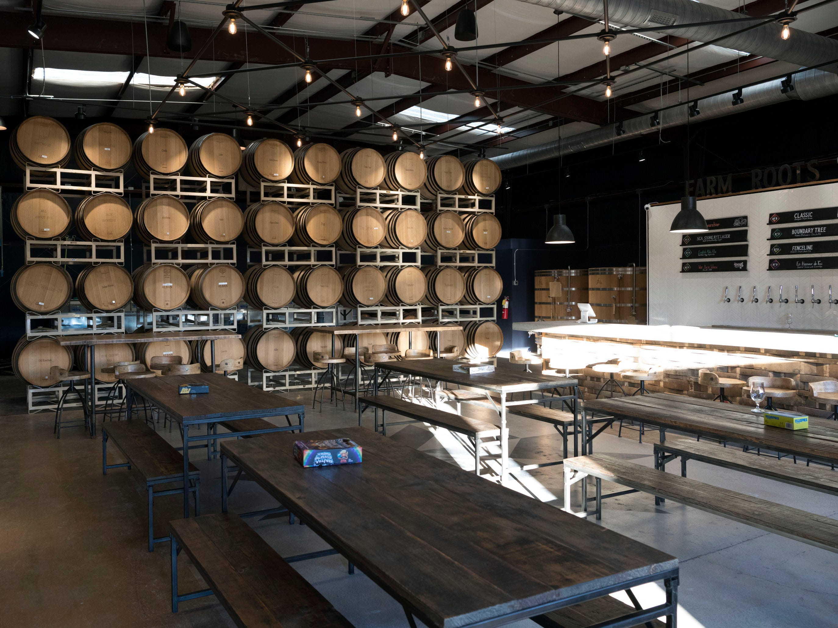Seating area inside the taproom at the Blackberry Farm Brewery on Wednesday, January 9, 2019.
