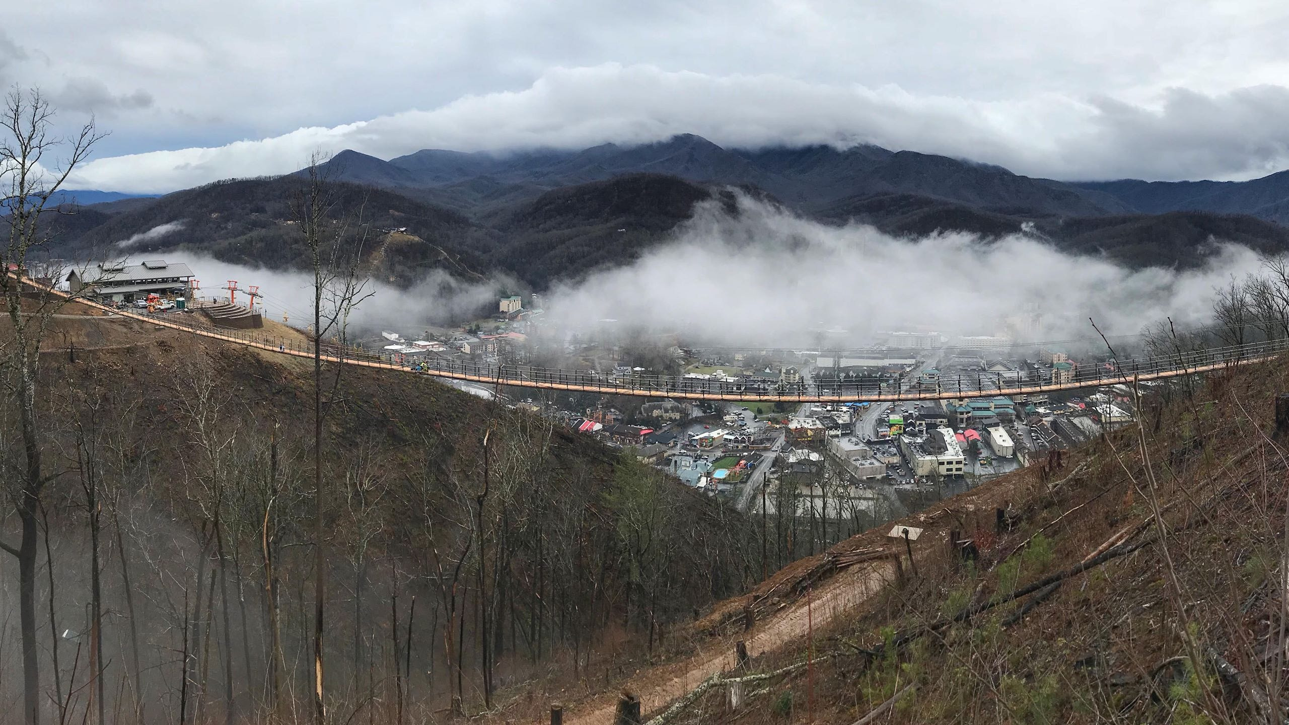 A new suspension bridge claiming to be the longest pedestrian bridge in North America is being built by Gatlinburg SkyLift.