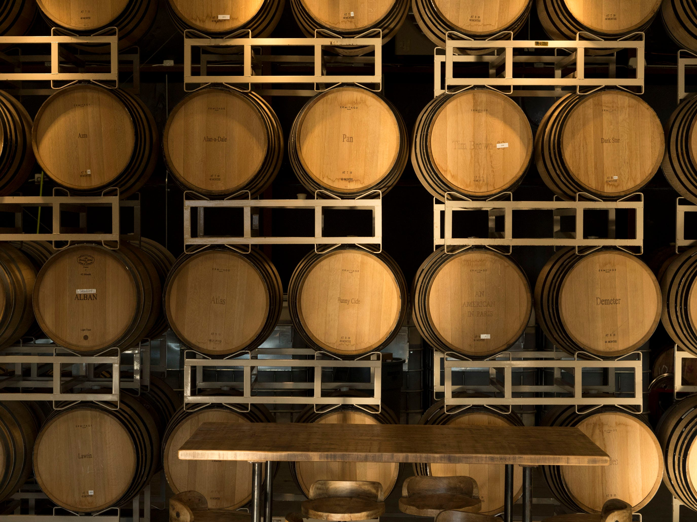 Casks of aging beer at the Blackberry Farm taproom on Wednesday, January 9, 2019.